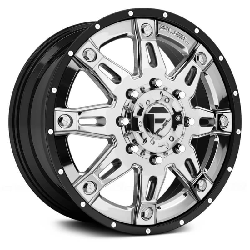 Fuel Dually Wheels >> Fuel Dually Hostage Ii D233 Front Chrome With Black Lip 22x8 25 127 8x170