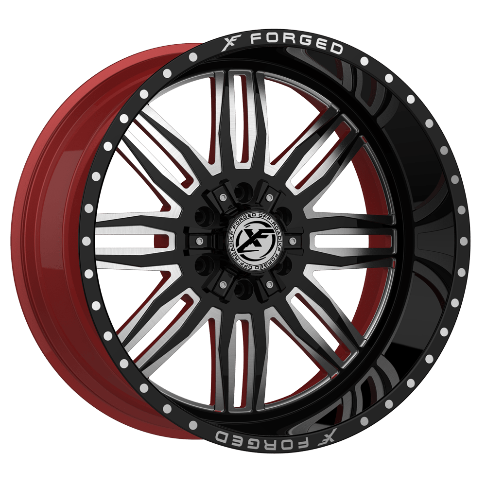 XF Offroad Forged XFX-303 Gloss Black and Milled with Red ...